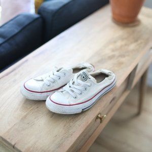 Converse all star white slip on shoes lace up 8